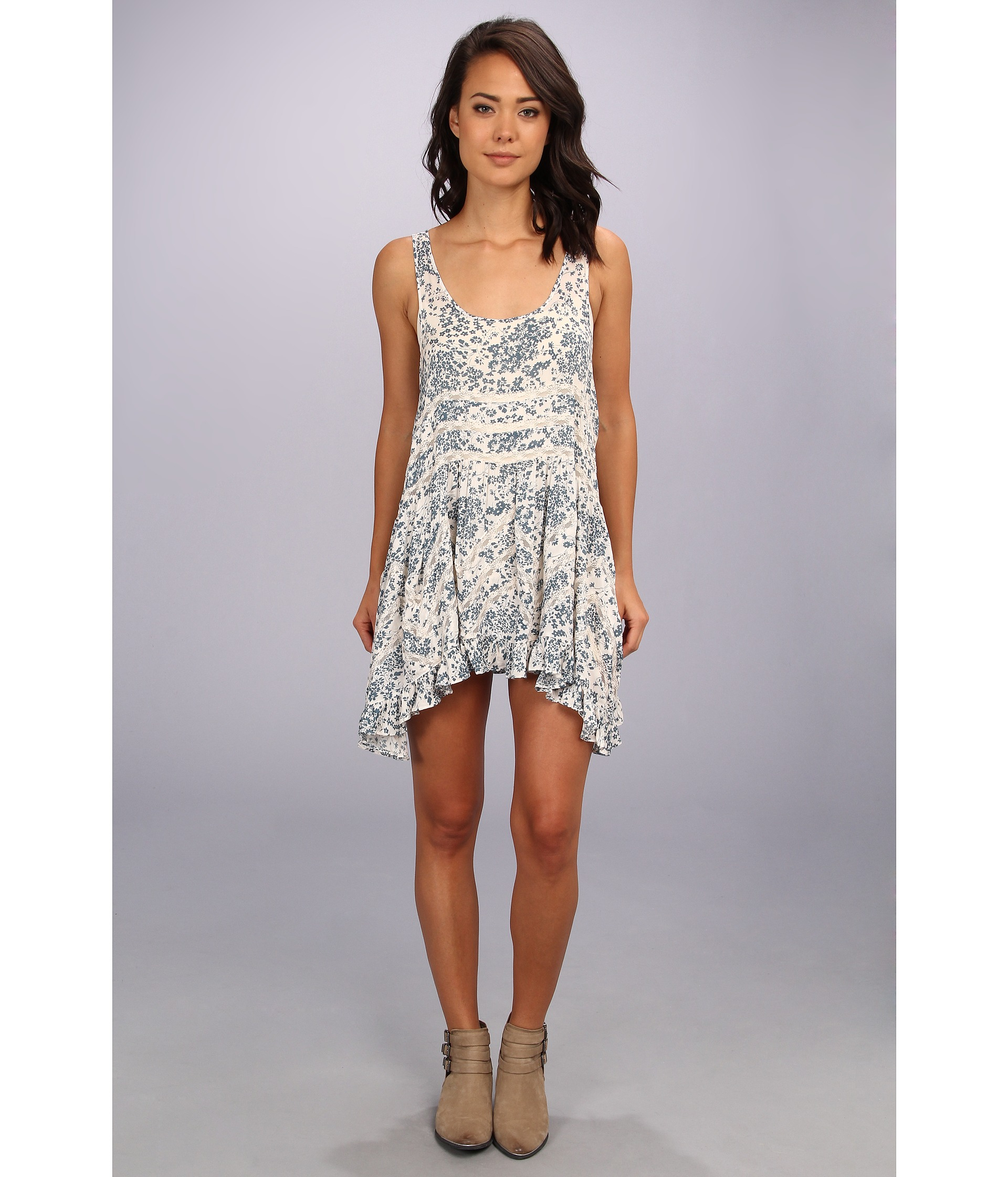 Lyst - Free People Floral Trapeze Slip Dress in Natural 97f9df3fe