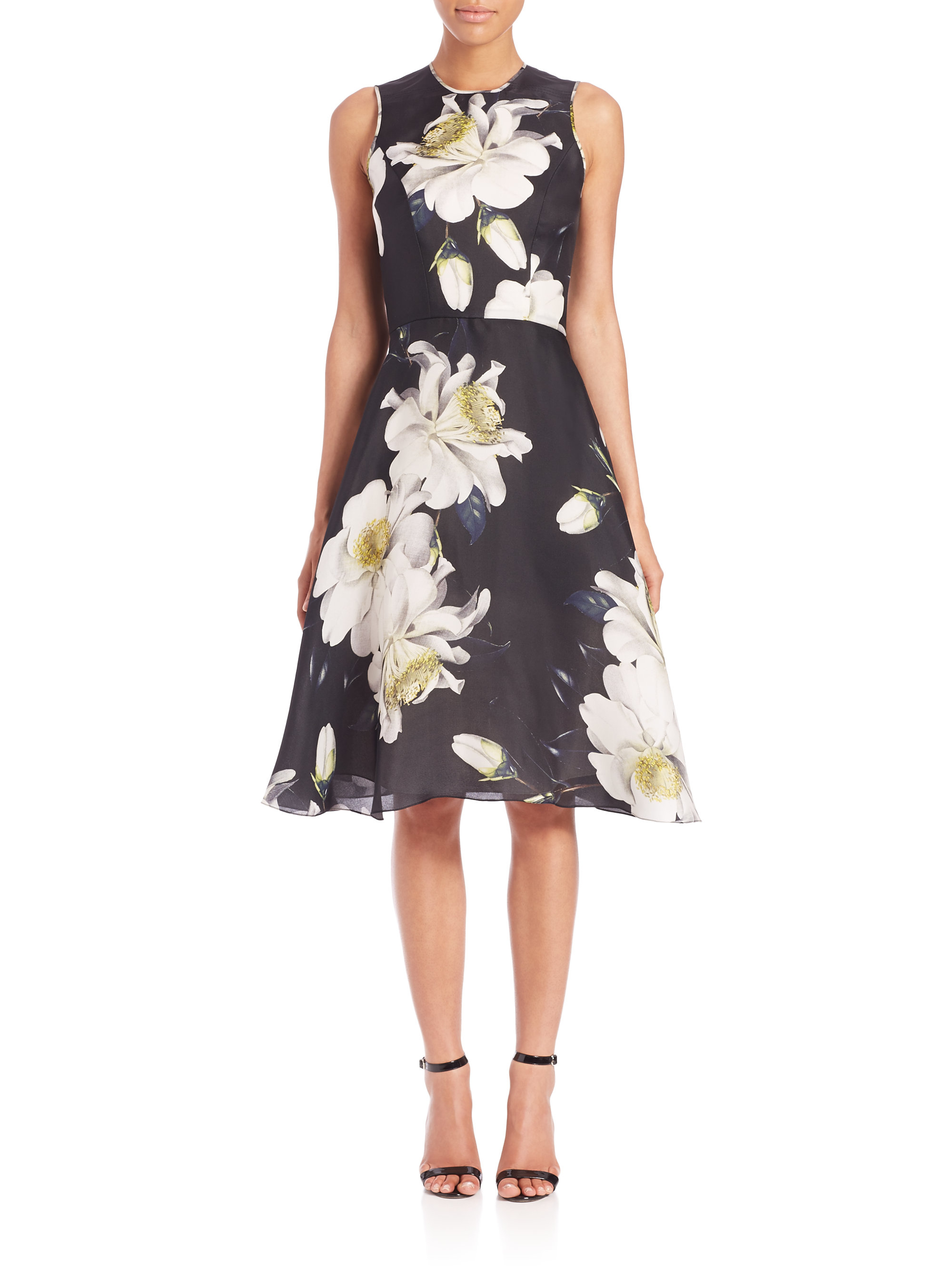Lyst - Carolina Herrera Gardenia Gazaar Silk Cocktail Dress in Black