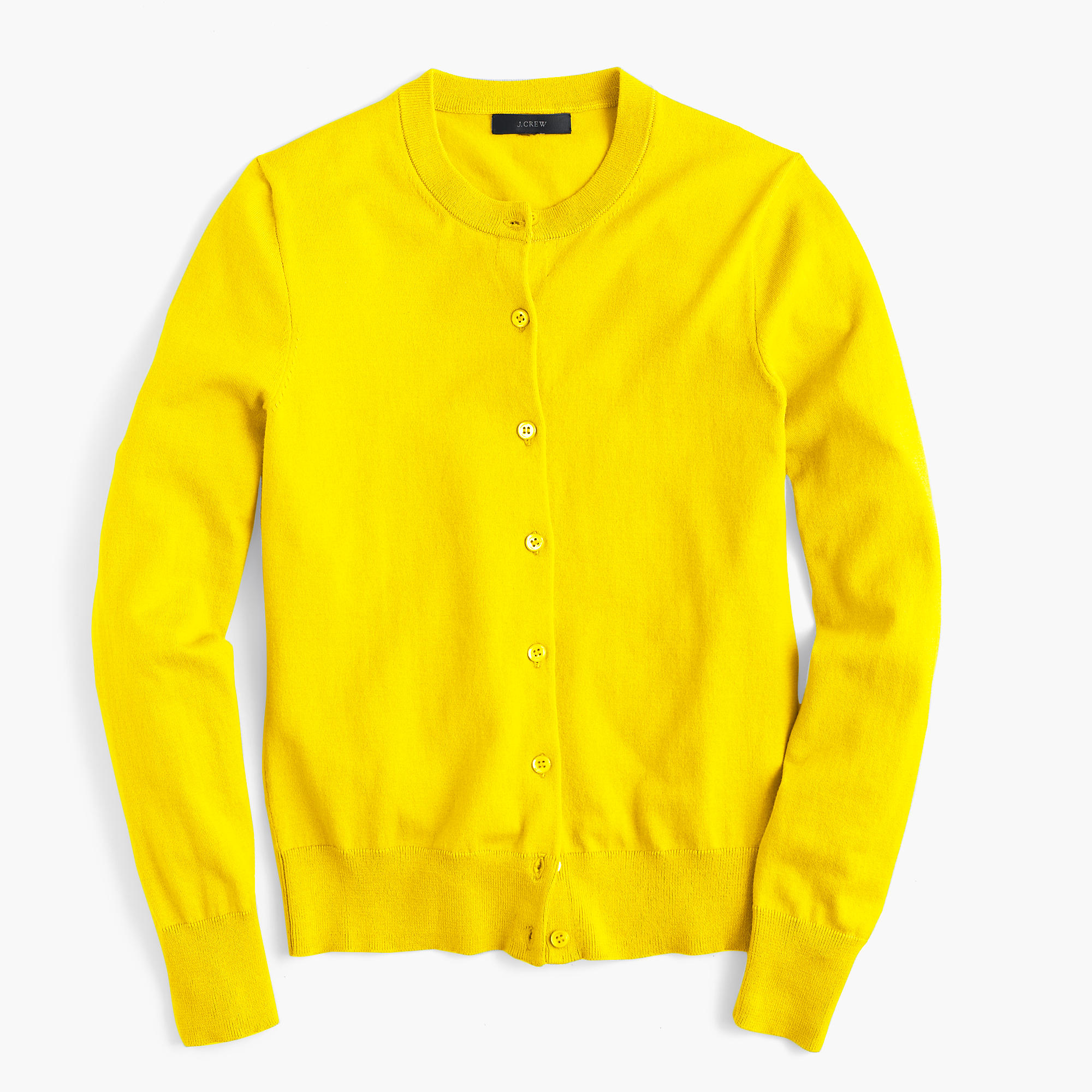 J.crew Cotton Jackie Cardigan Sweater in Yellow | Lyst