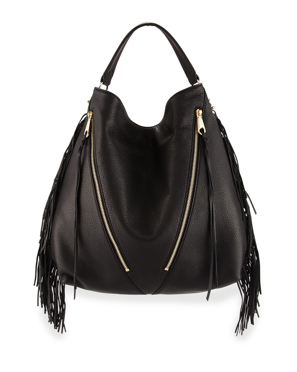 Rebecca minkoff Fringe Moto Leather Hobo Bag in Black | Lyst