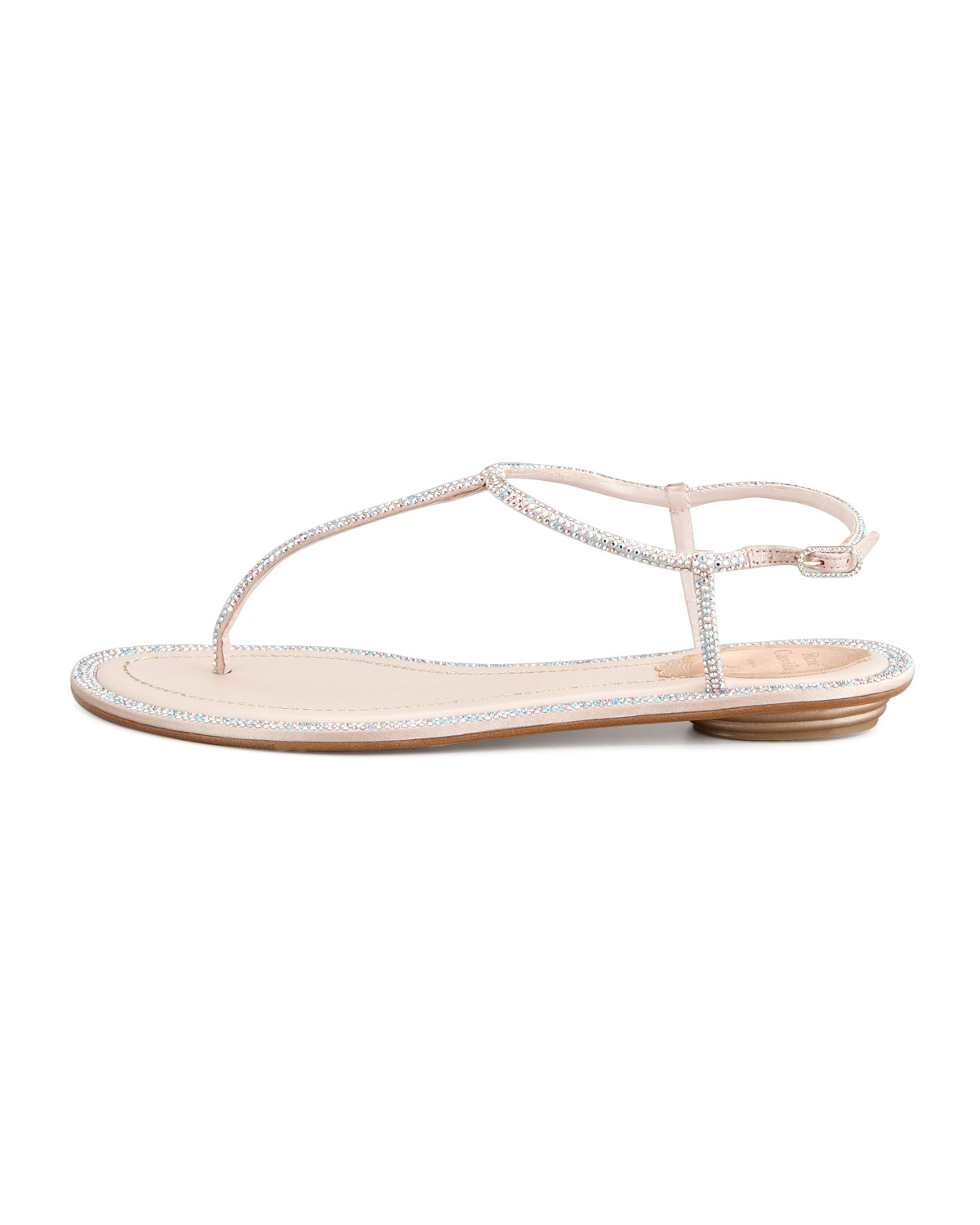 f4d693a8e1bb Lyst - Rene Caovilla Crystal Flat Thong Sandal Beige in Natural
