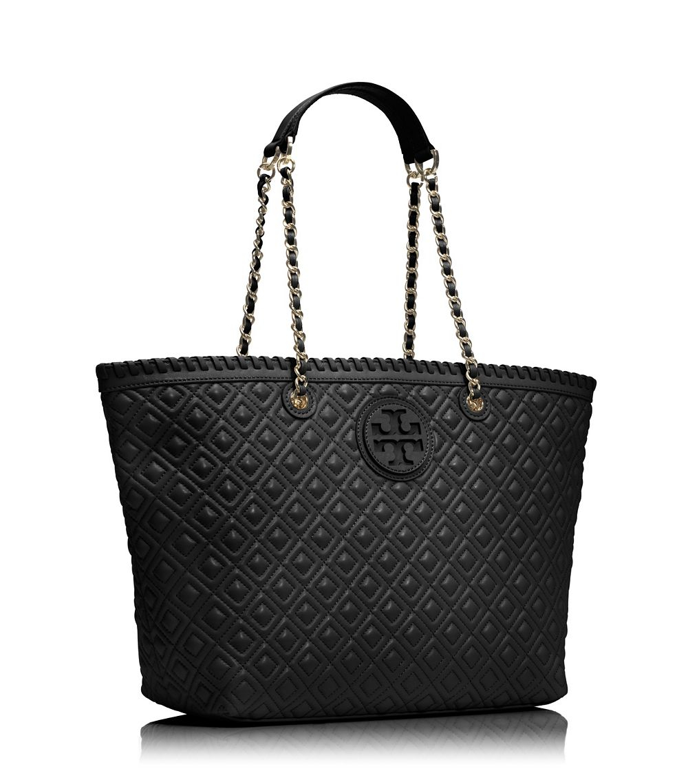 Tory burch Marion Quilted Small Tote in Black | Lyst