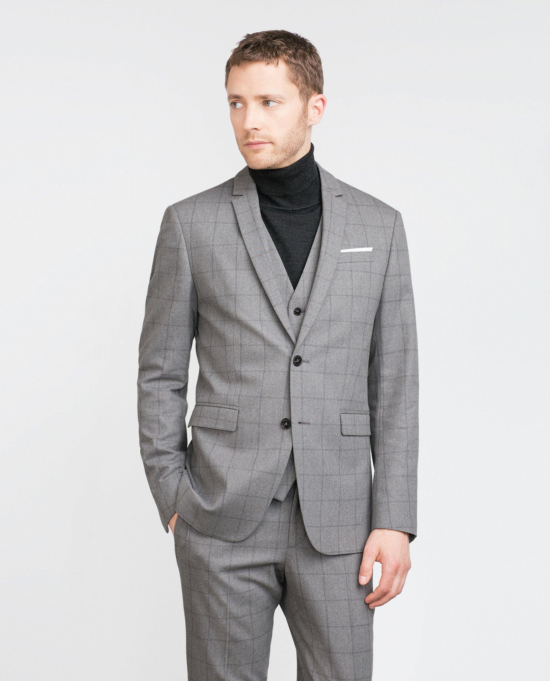 zara check blazer in gray for men lyst. Black Bedroom Furniture Sets. Home Design Ideas