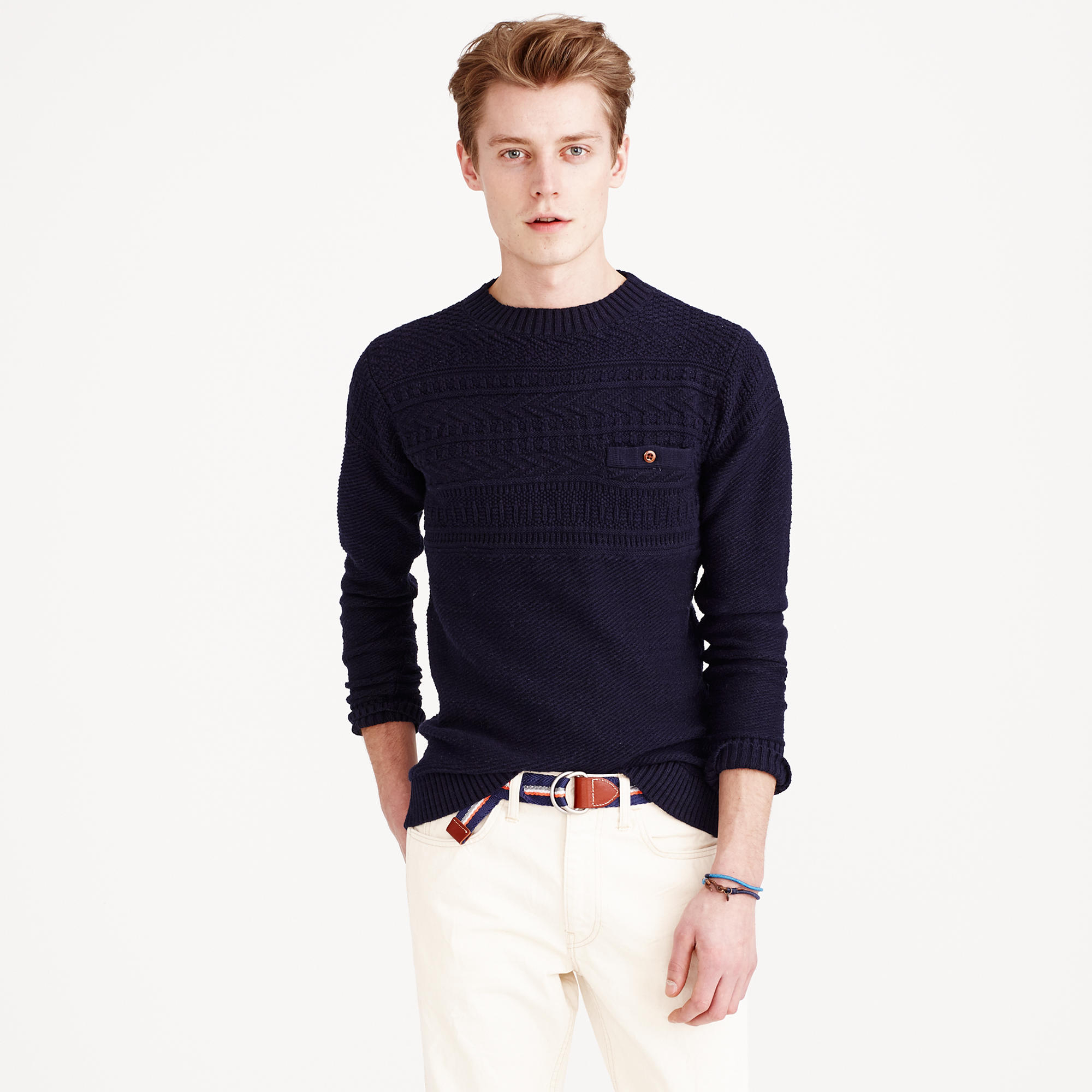 Lyst j crew rustic cotton fisherman sweater in blue for men for J crew mens outfits