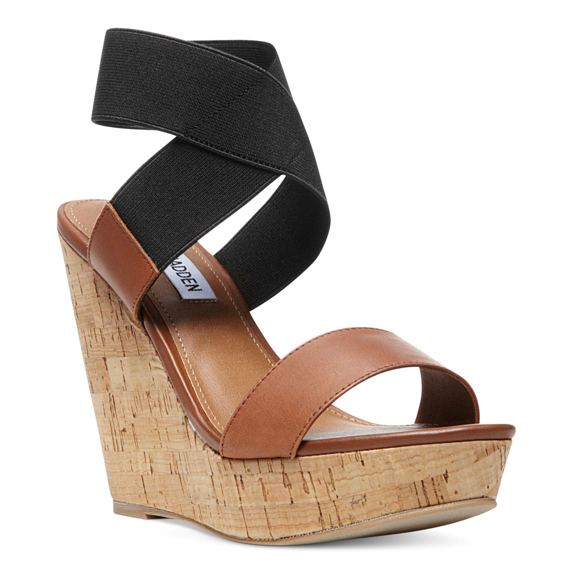 steve madden roperr platform wedge sandals in brown cognac multi lyst. Black Bedroom Furniture Sets. Home Design Ideas