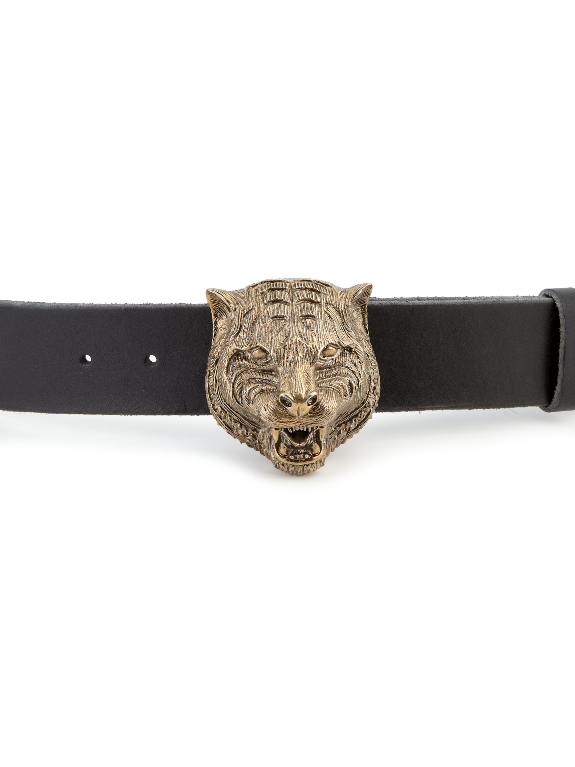 a444d9dbfd0ce3 Gucci Tiger Head Leather Belt in Black - Lyst