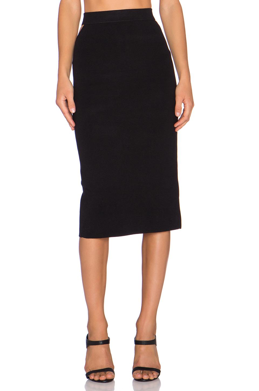 endless slit back midi skirt in black lyst