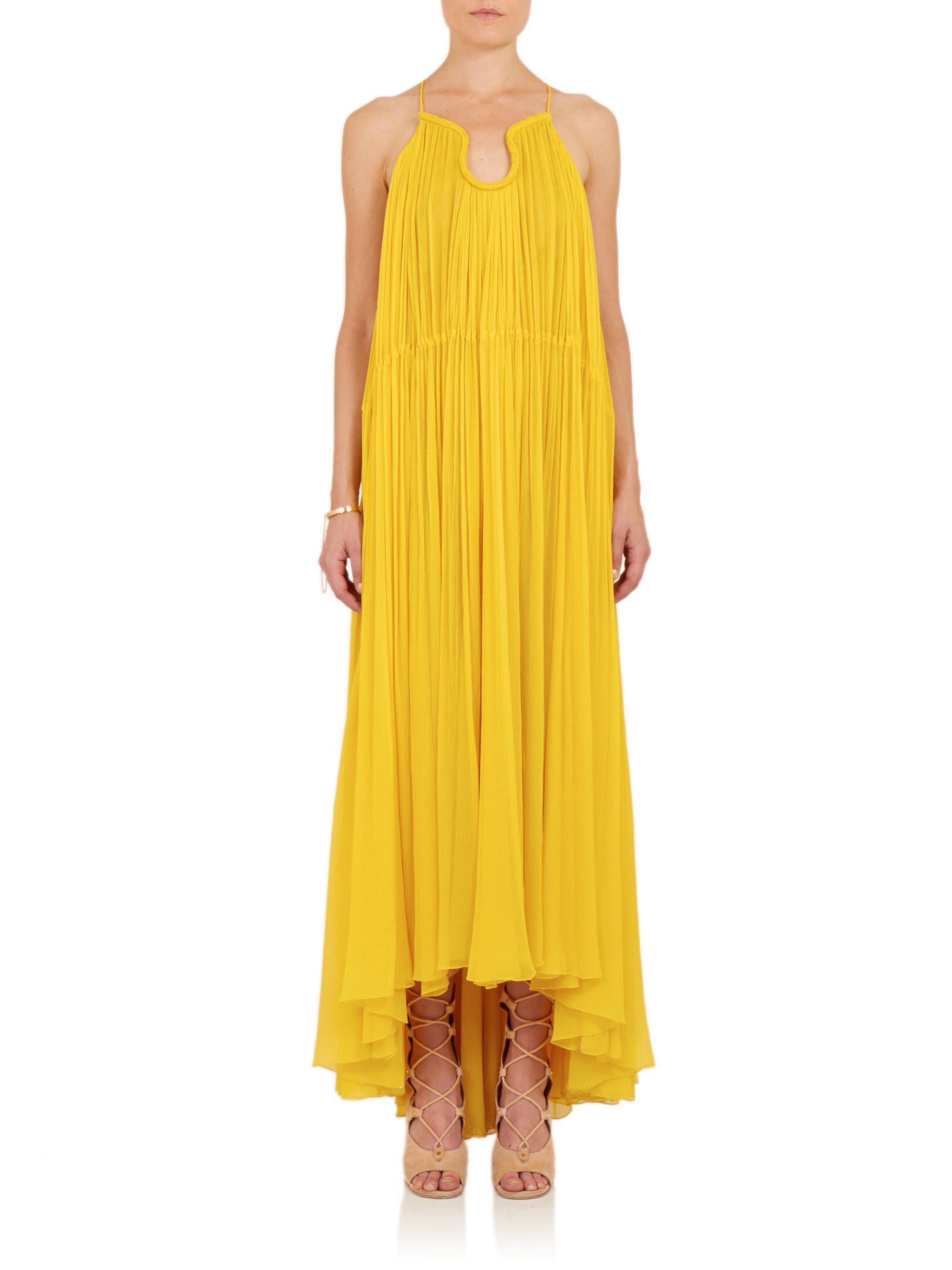 Chloé Pleated Silk Maxi Dress in Yellow | Lyst
