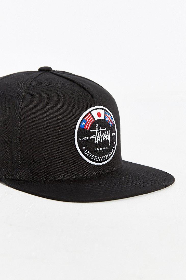 06af4b8386be4c Stussy International Flags Snapback Hat in Black for Men - Lyst