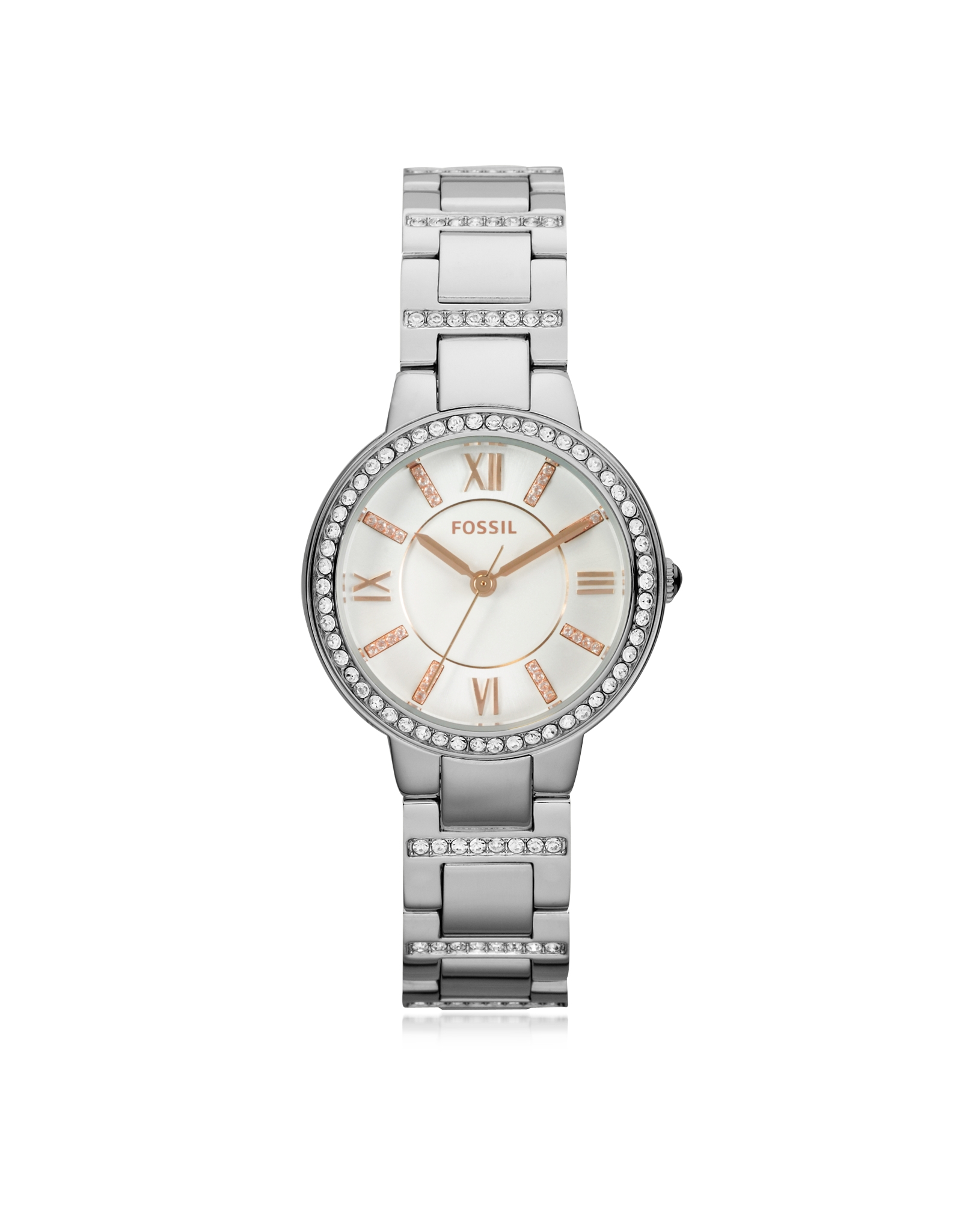 fossil virginia silver tone stainless steel s