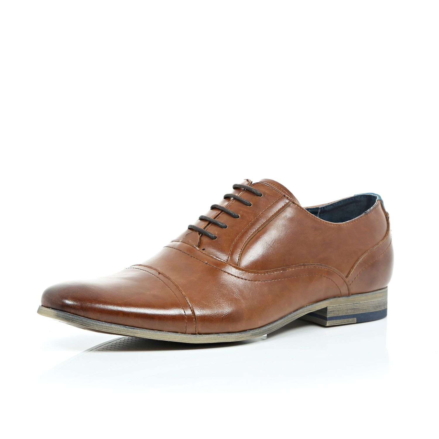 river island brown leather formal lace up shoes in brown