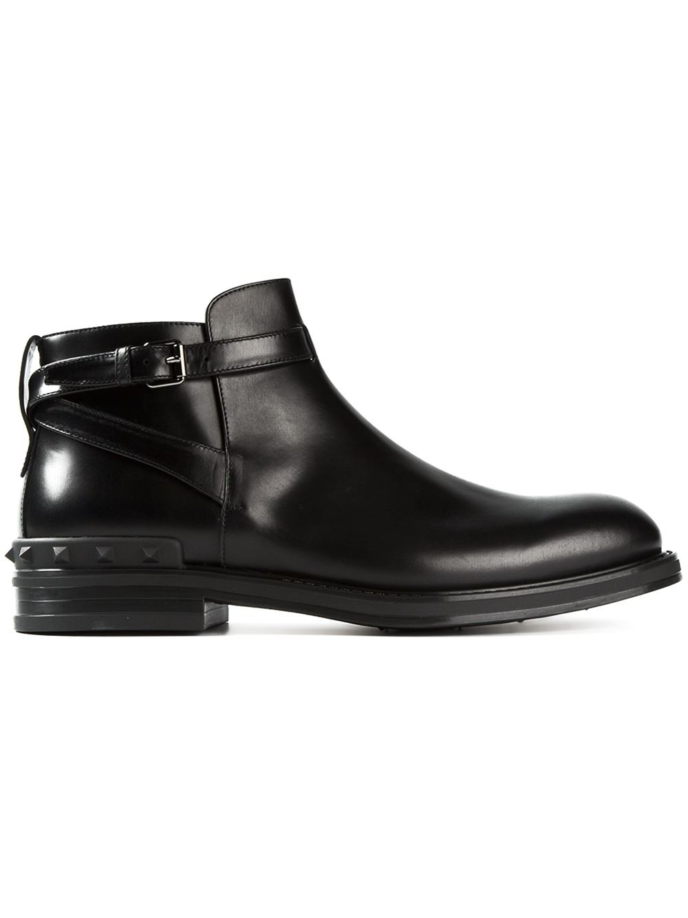 valentino rockstud ankle boots in black for lyst