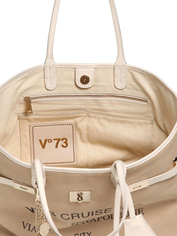 V73 Cruise Monte Napoleone Canvas Tote in Beige (Natural)