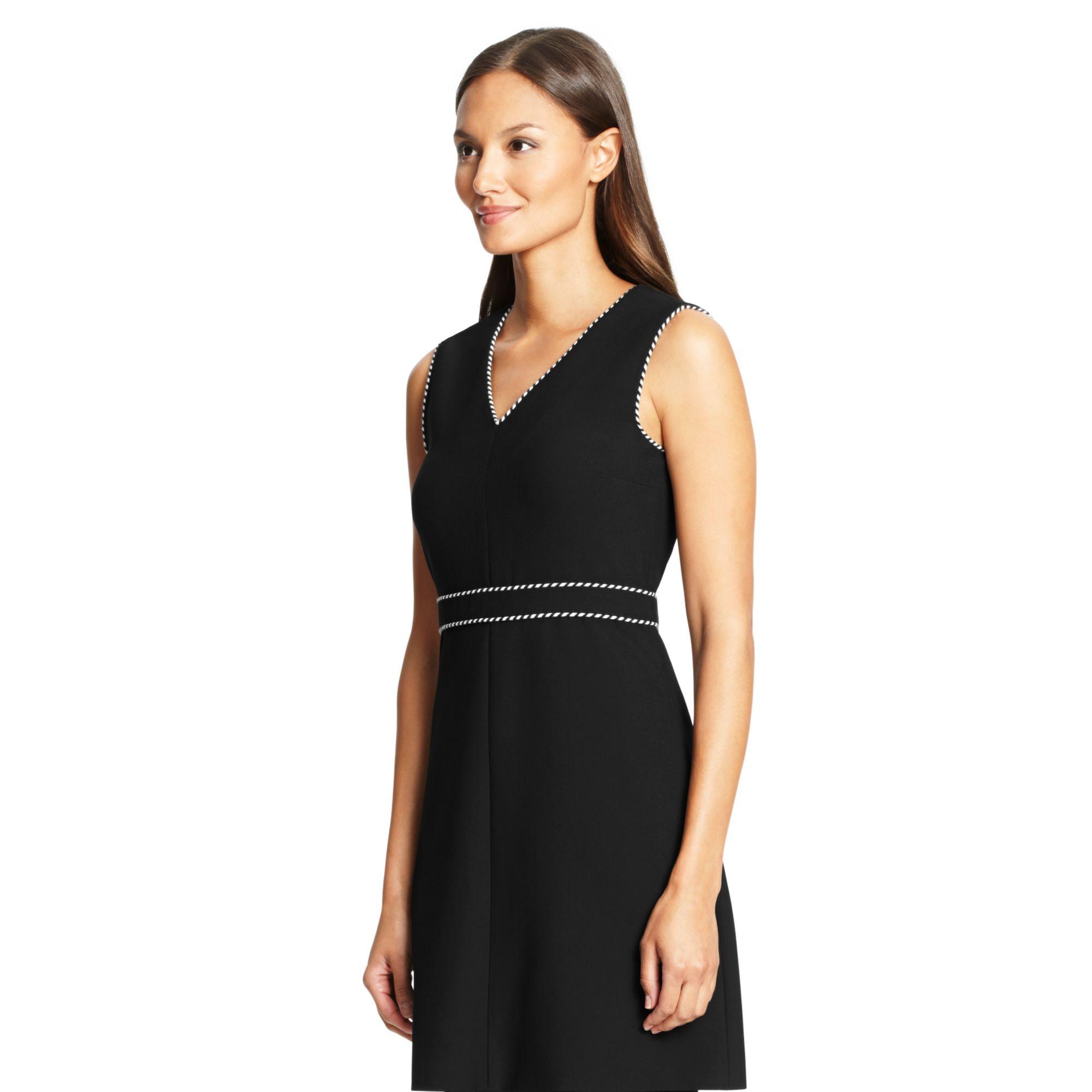 Diane von furstenberg Dvf Leelou Trim Detail Shift Dress in Black ...