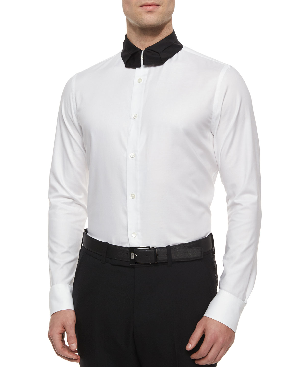 ba827a3daa27 Alexander McQueen Long-sleeve Poplin Shirt With Necktie-collar in ...