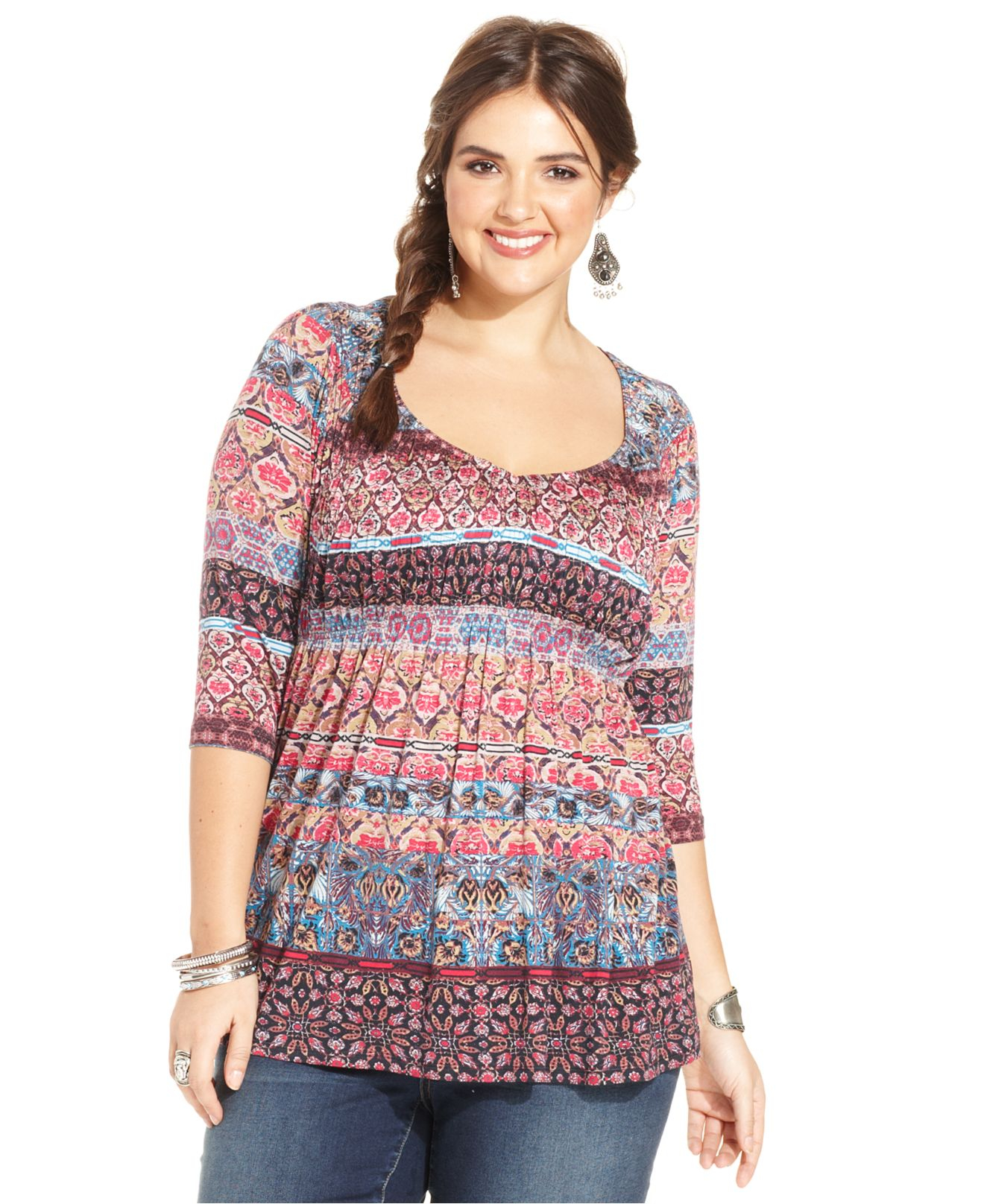 572727d2f577d American Rag Plus Size Printed Babydoll Top - Lyst