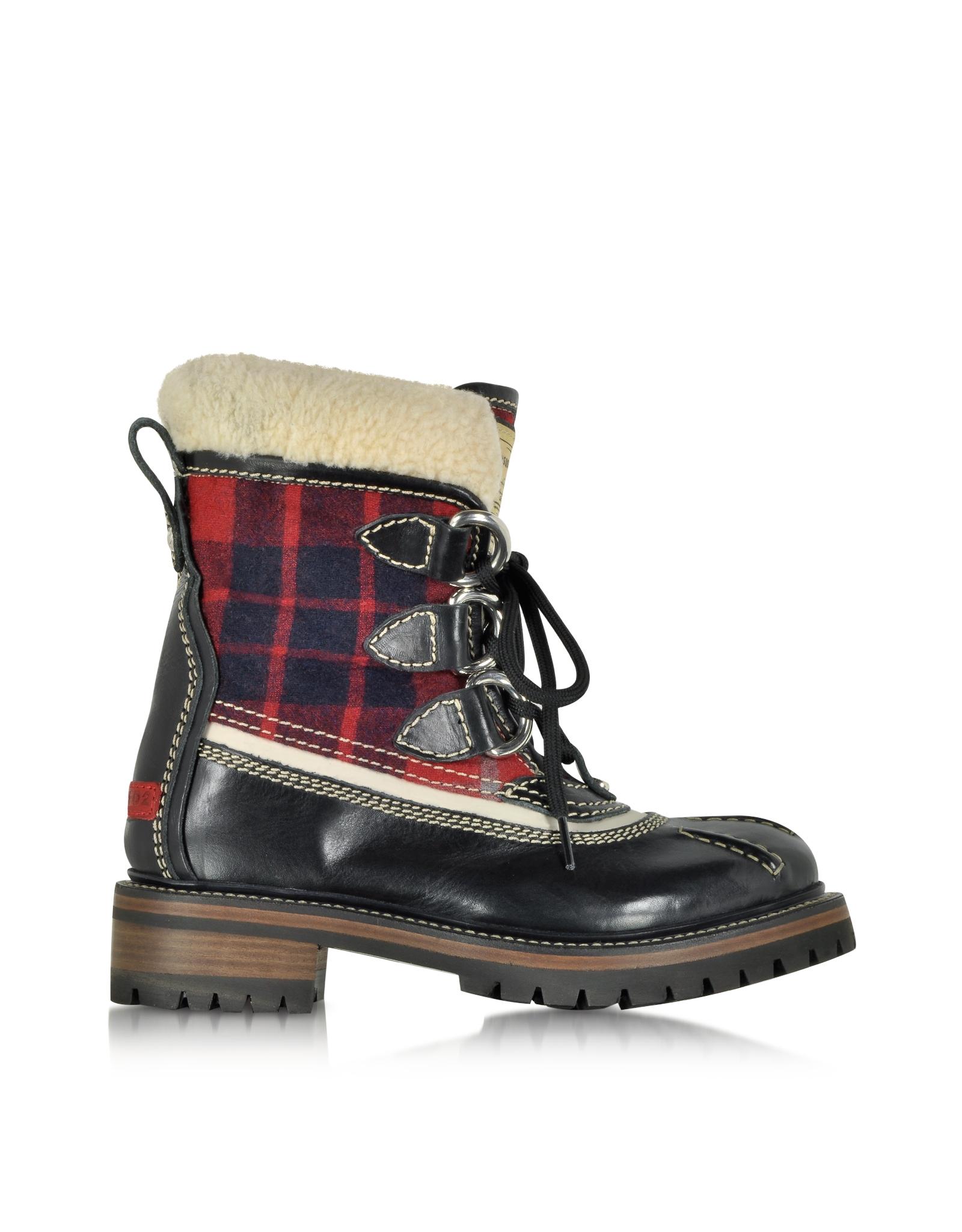 dsquared2 plaid boots