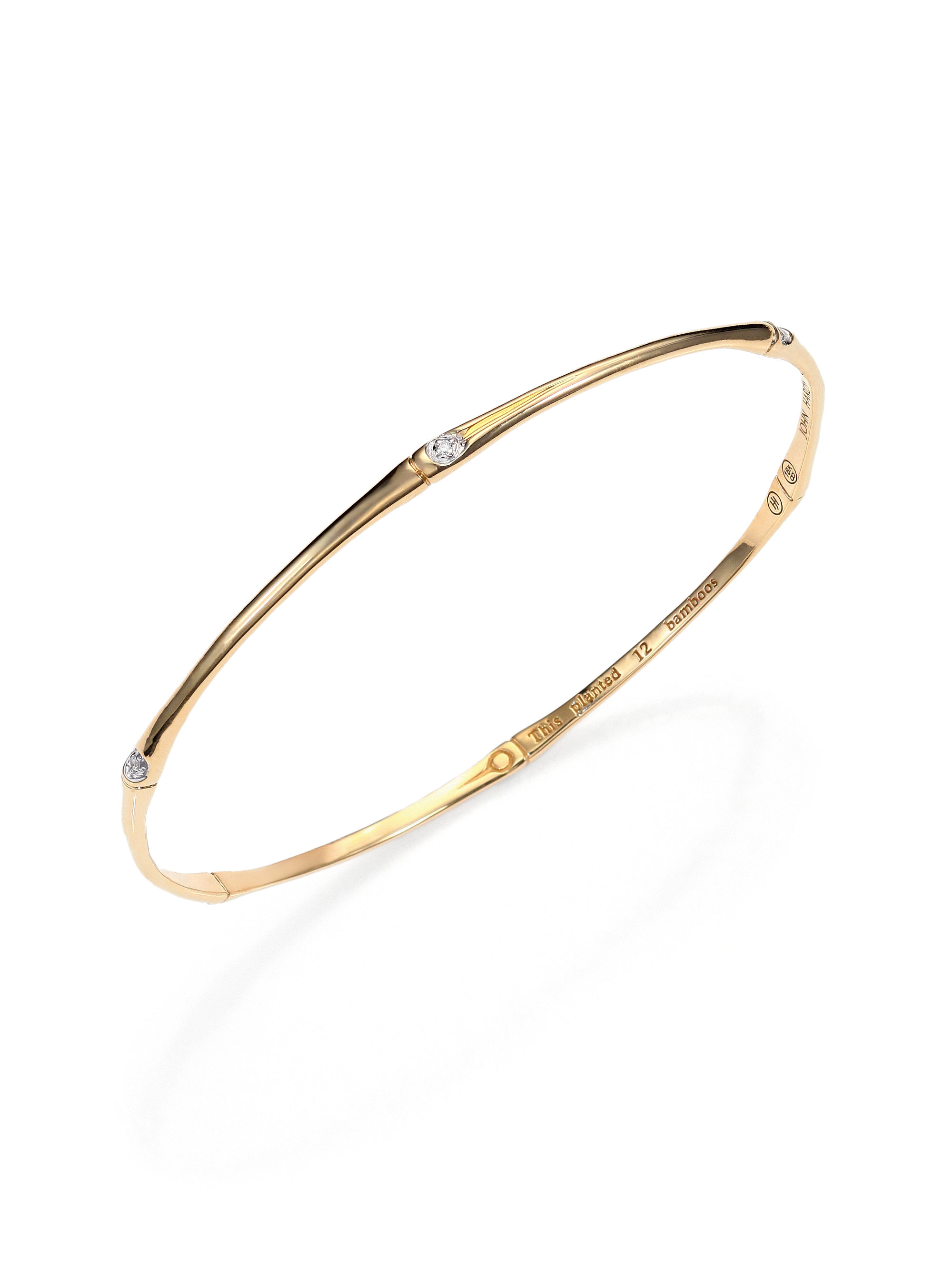 Lyst John Hardy Bamboo Diamond Amp 18k Yellow Gold Bangle