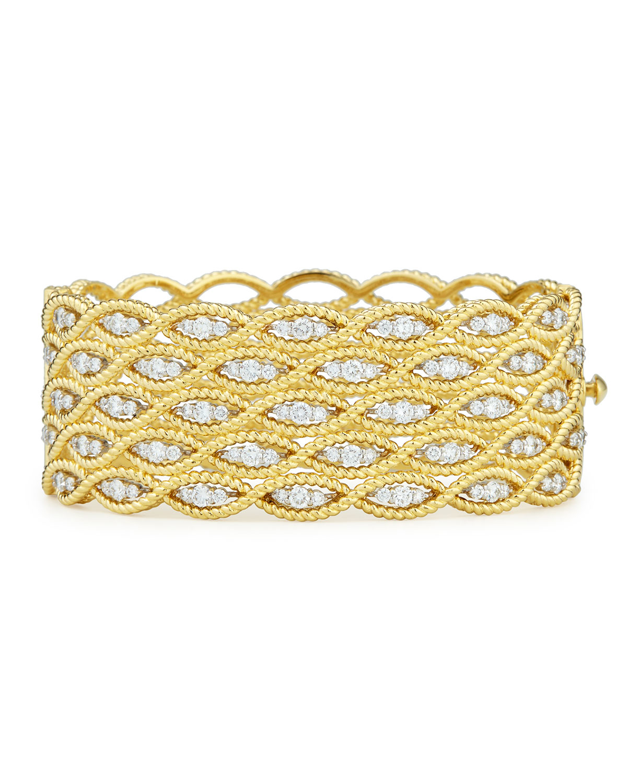 Roberto Coin 18k Gold Diamond Pavé Ram Bangle Bracelet j13SNo