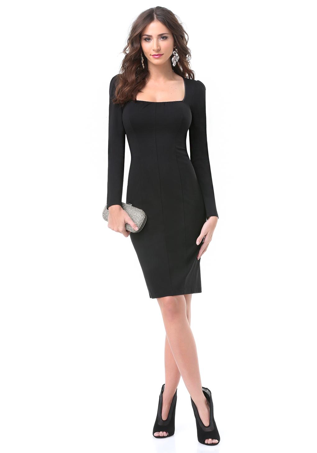 Dress Square Double Thai 100 Viscose: Bebe Reyna Square Neck Dress In Black