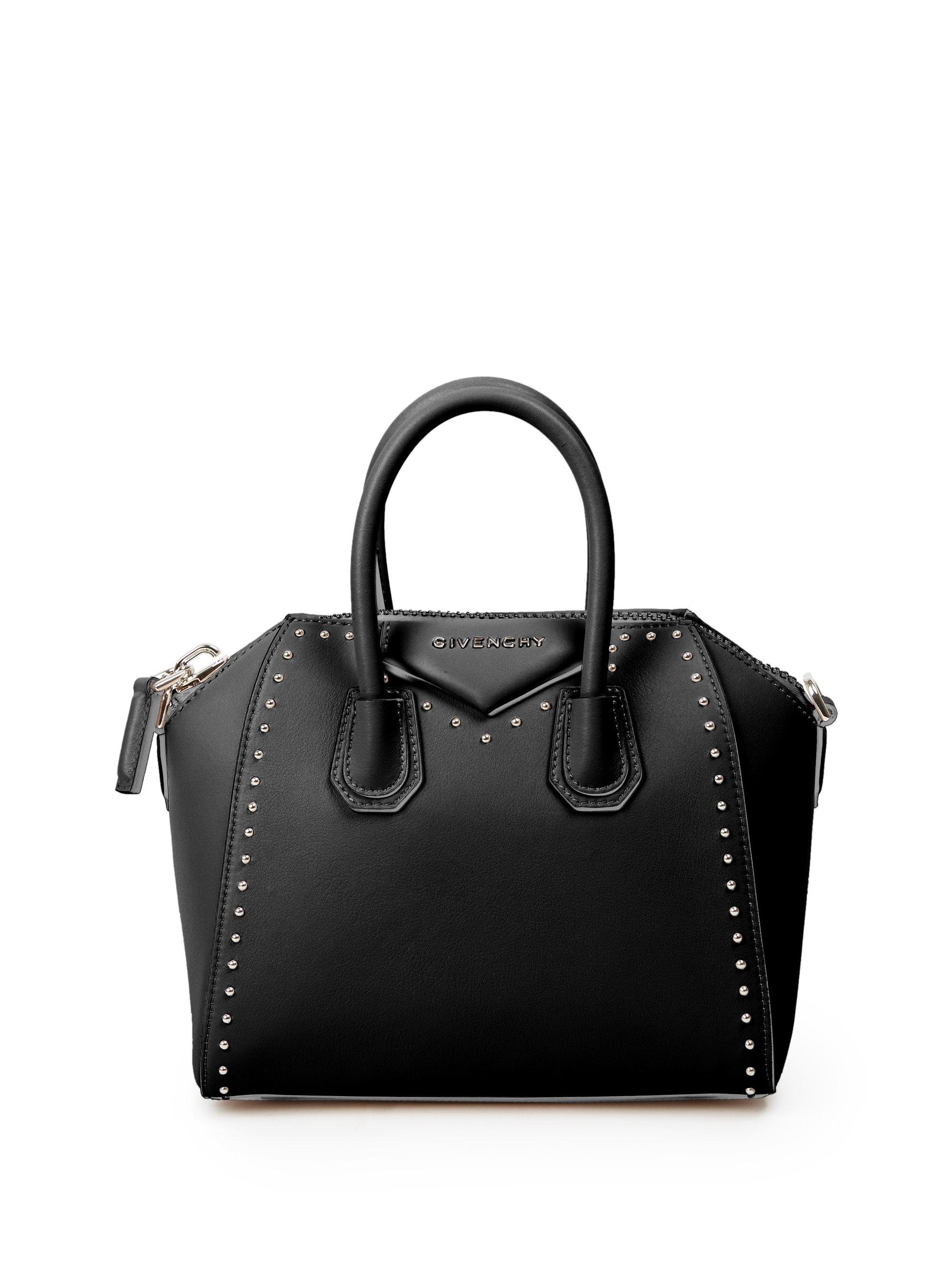 lyst givenchy antigona mini studded leather satchel in black. Black Bedroom Furniture Sets. Home Design Ideas