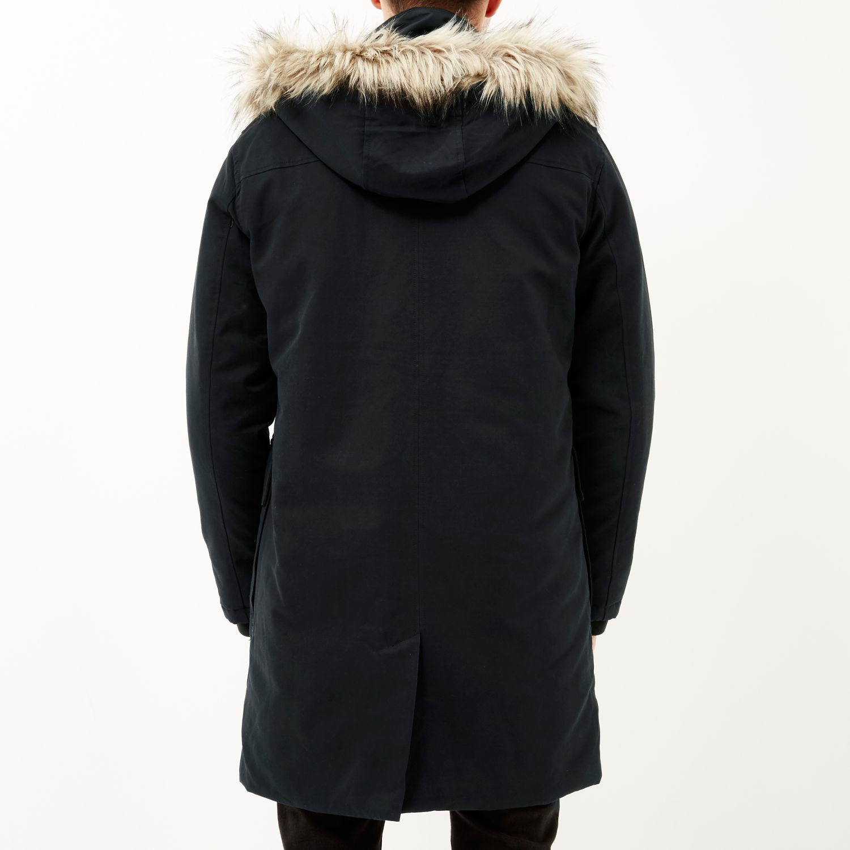 River island Navy Faux-fur Trim Parka Coat in Blue for Men | Lyst