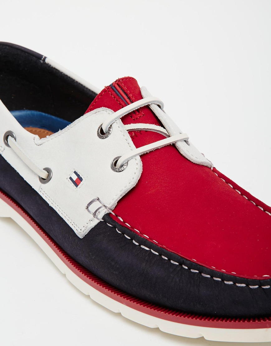 Tommy Hilfiger Red Nubuck Leather Boat Shoes for men