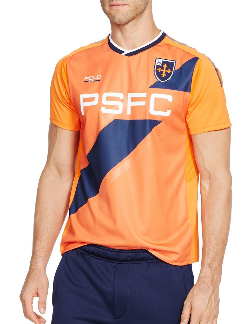 polo ralph lauren v neck soccer jersey in orange for men lyst. Black Bedroom Furniture Sets. Home Design Ideas