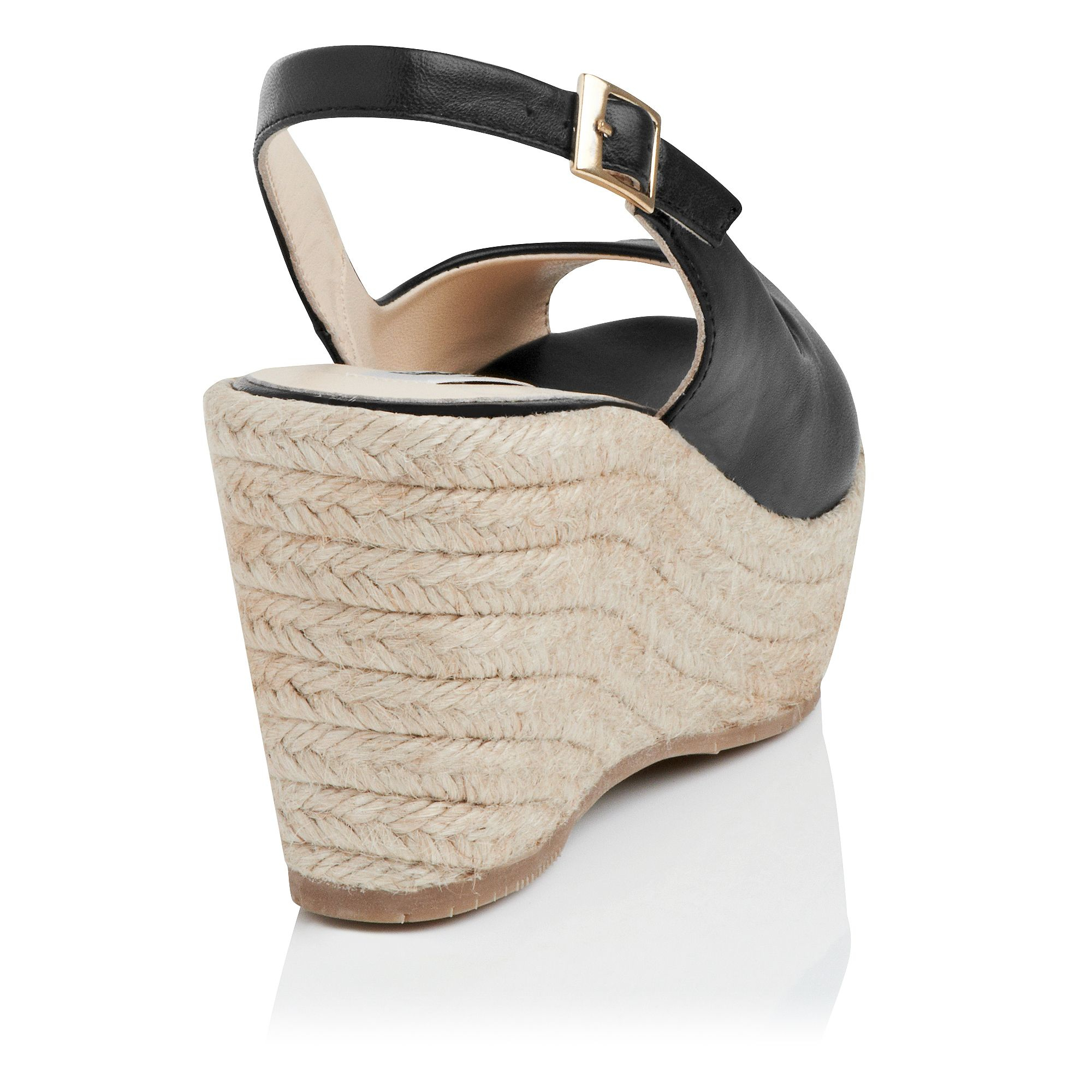 l k april leather open toe wedge shoes in black lyst