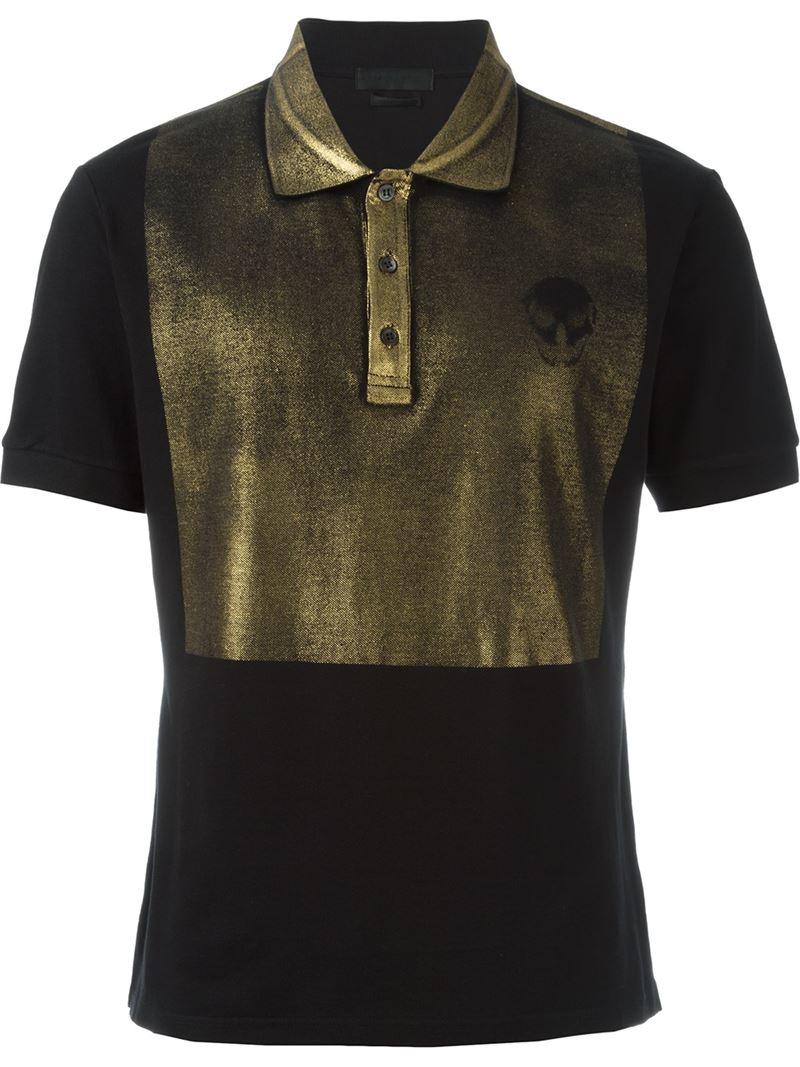 Alexander mcqueen skull motif polo shirt in black for men for Alexander mcqueen shirt men