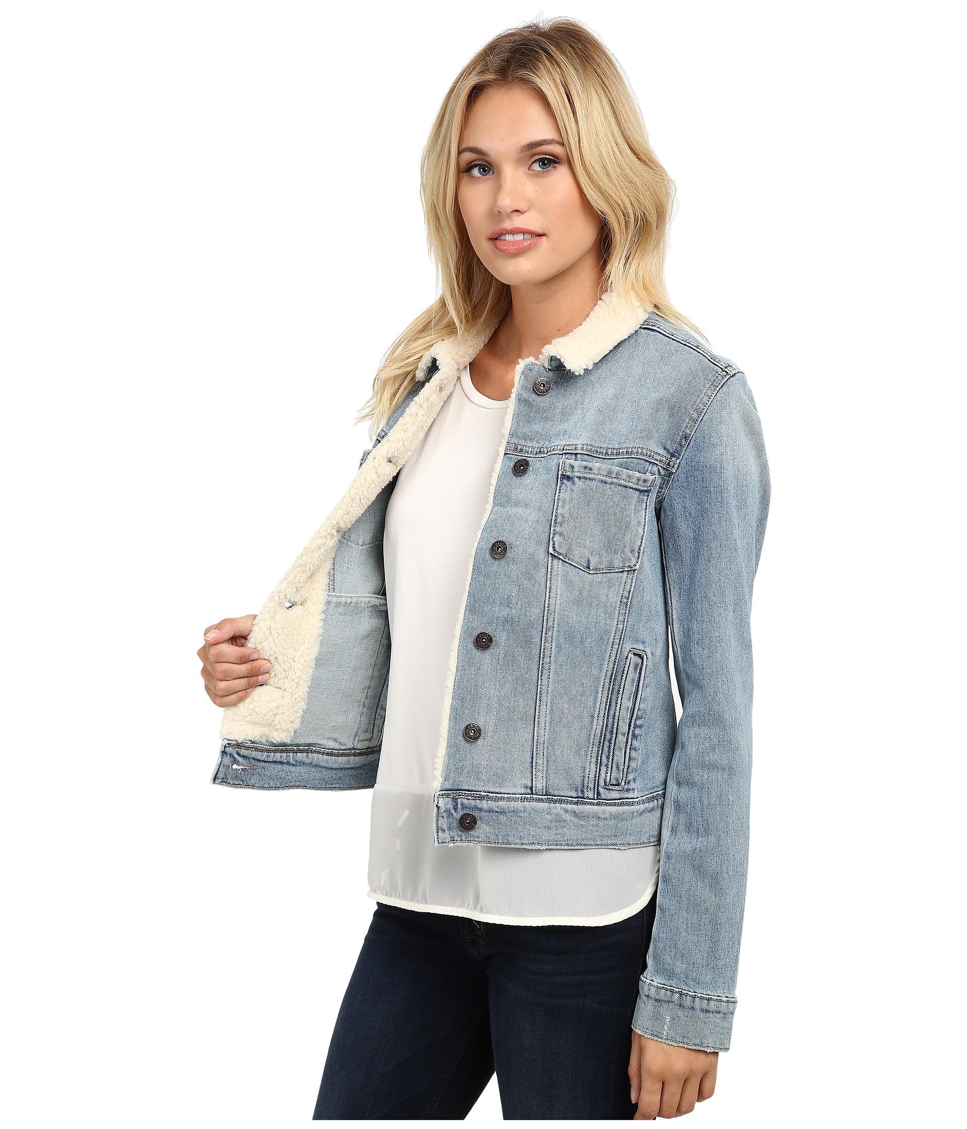 Paige Aspen Shearling Jacket in Blue | Lyst