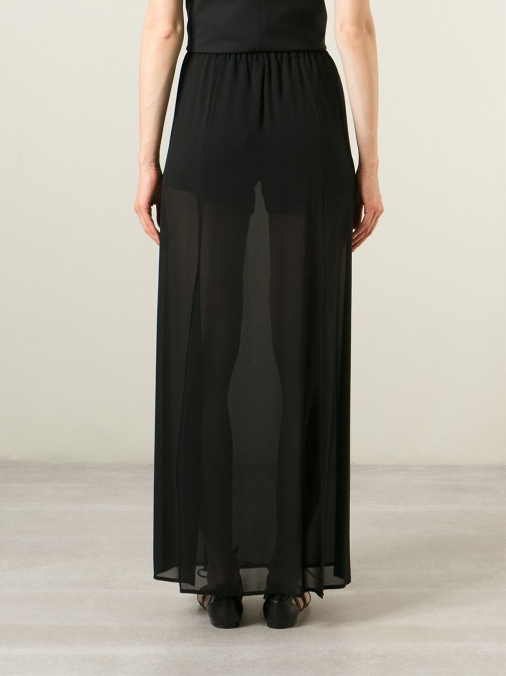 michael michael kors sheer maxi skirt in black lyst