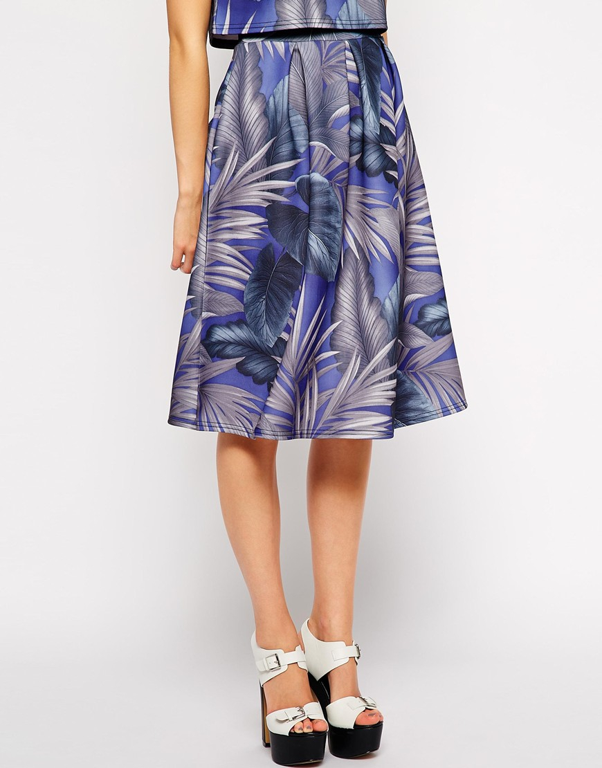fashion union scuba midi skirt in palm print in blue lyst