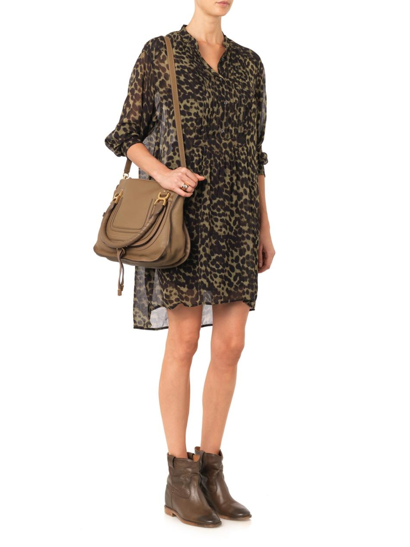 Isabel Marant Cluster Leather Ankle Boots In Brown Lyst