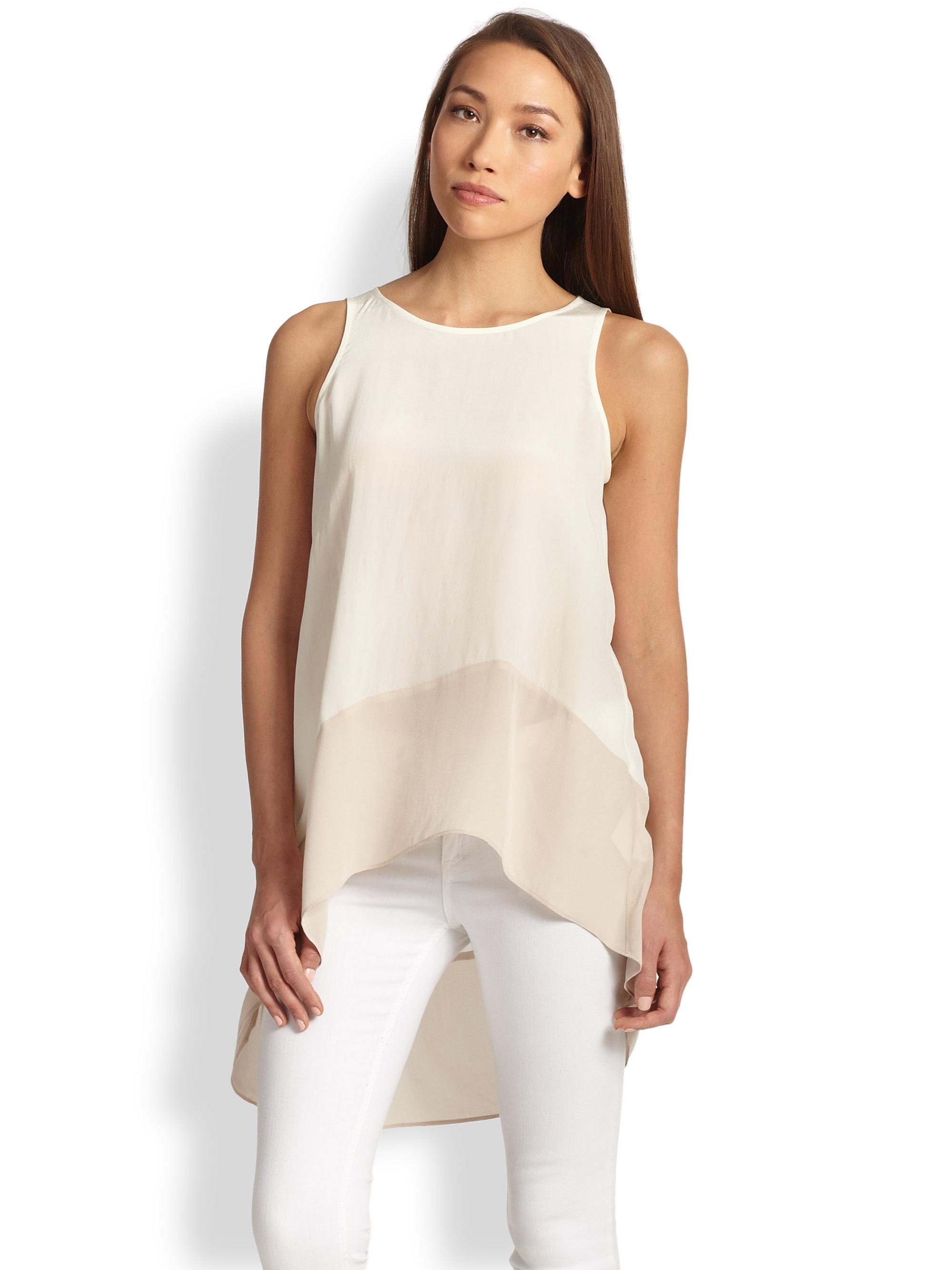 Eileen Fisher Jewelneck Silk Tunic In Soft White Vanilla