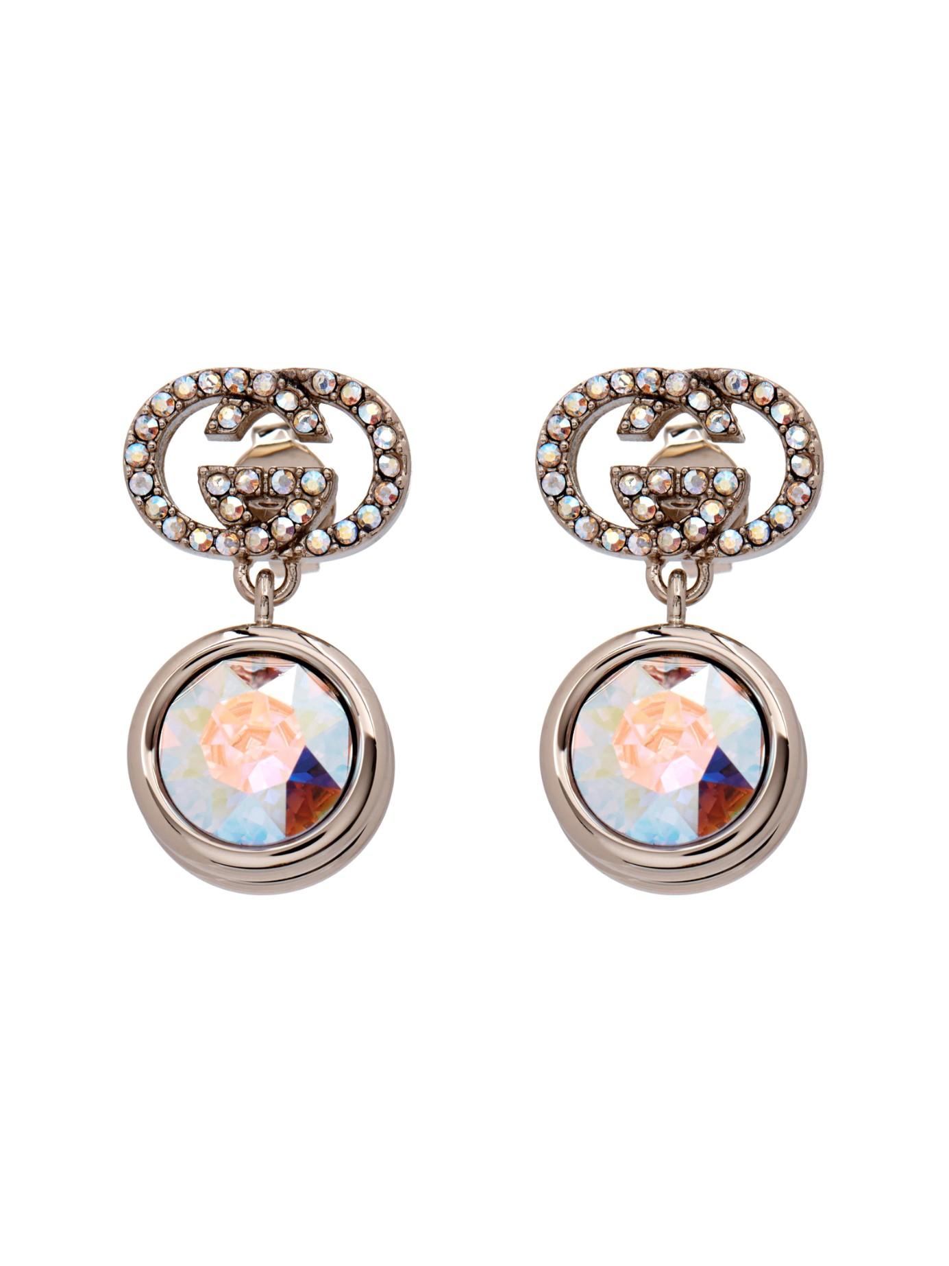 24cba55460d Lyst - Gucci Crystal-Embellished Logo Earrings in Metallic