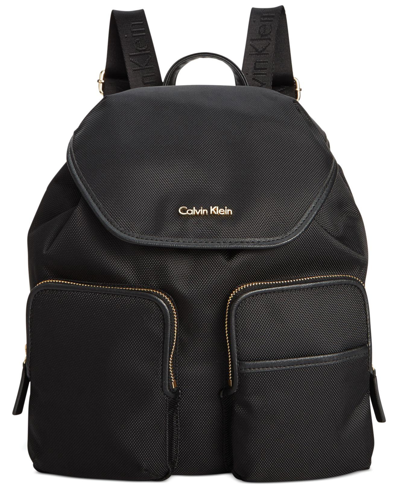 calvin klein parker ballistic nylon backpack in gray lyst. Black Bedroom Furniture Sets. Home Design Ideas