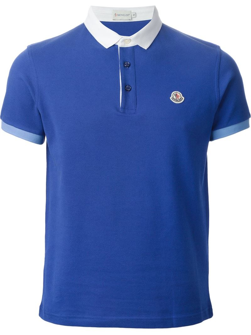 Polo Shirt Blue Moncler Men In Contrast Lyst For Collar Oqx6wgtE