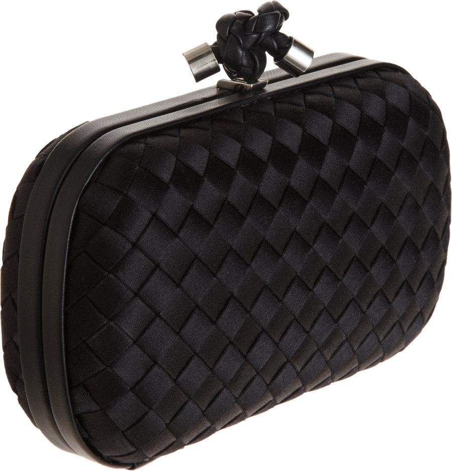 bottega veneta knot intrecciato satin clutch in black lyst. Black Bedroom Furniture Sets. Home Design Ideas