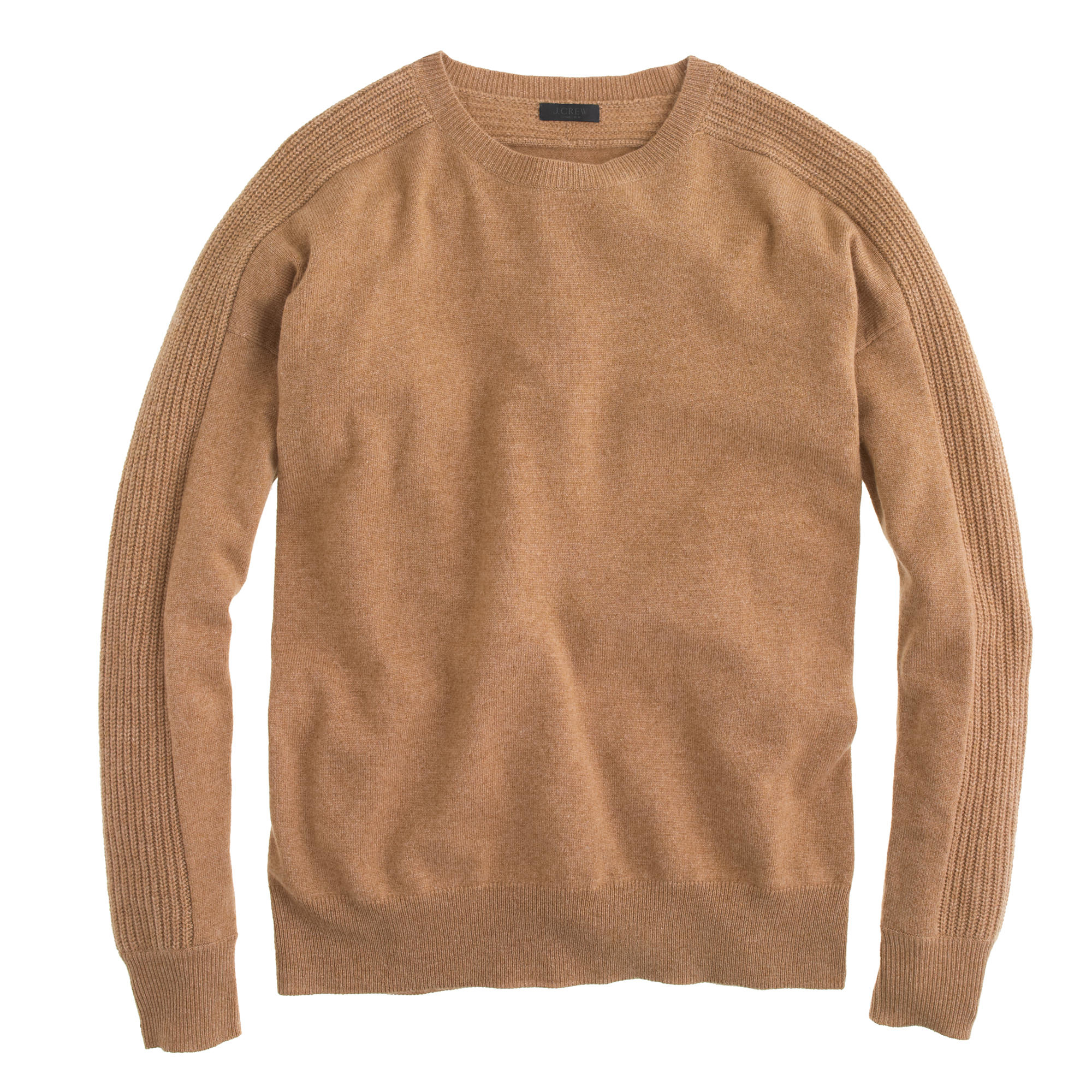 J.crew Collection Cashmere Textured Boyfriend Sweater in Brown | Lyst