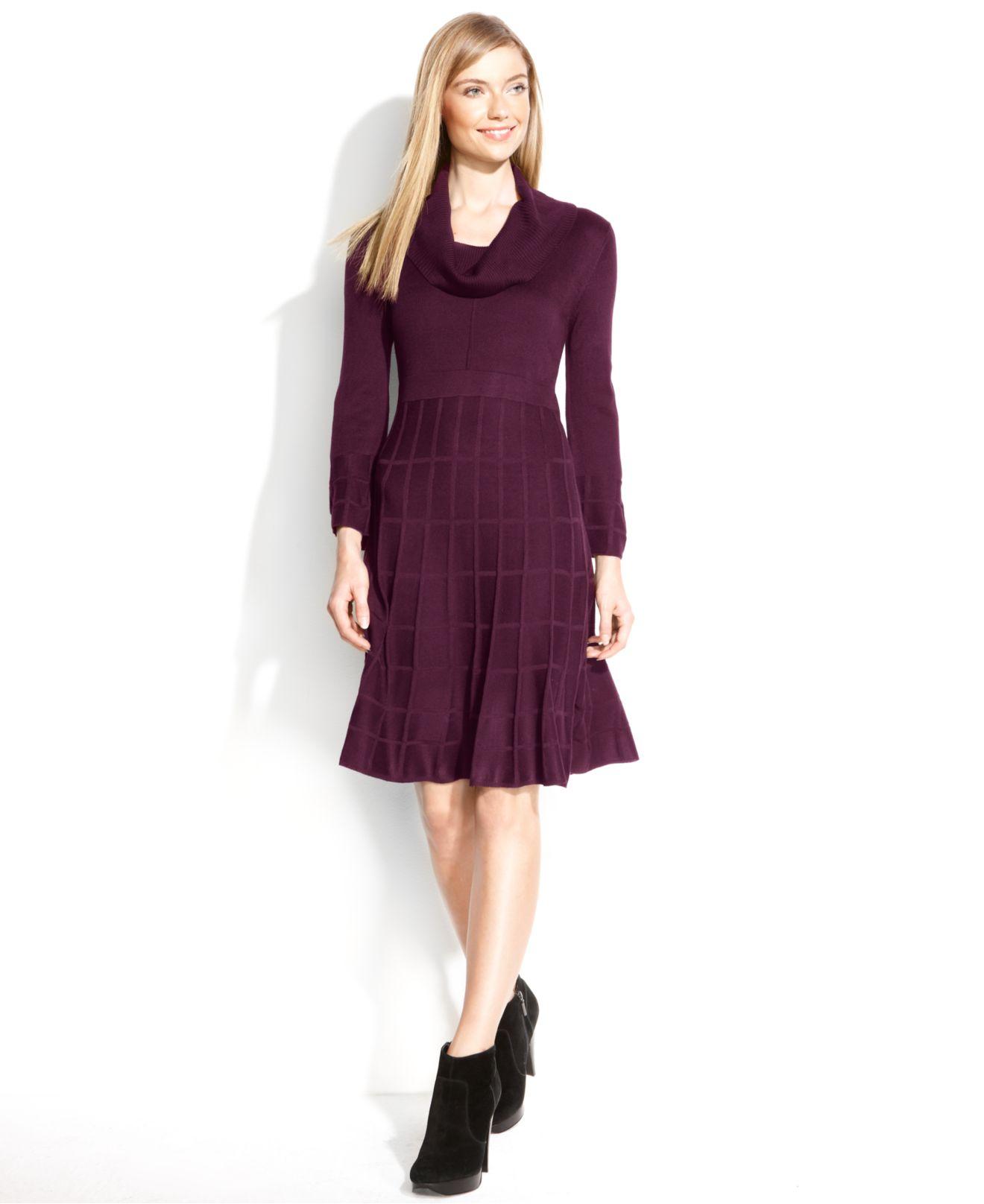 Calvin Klein Long-Sleeve Cowl-Neck Sweater Dress in Purple (Aubergine ...