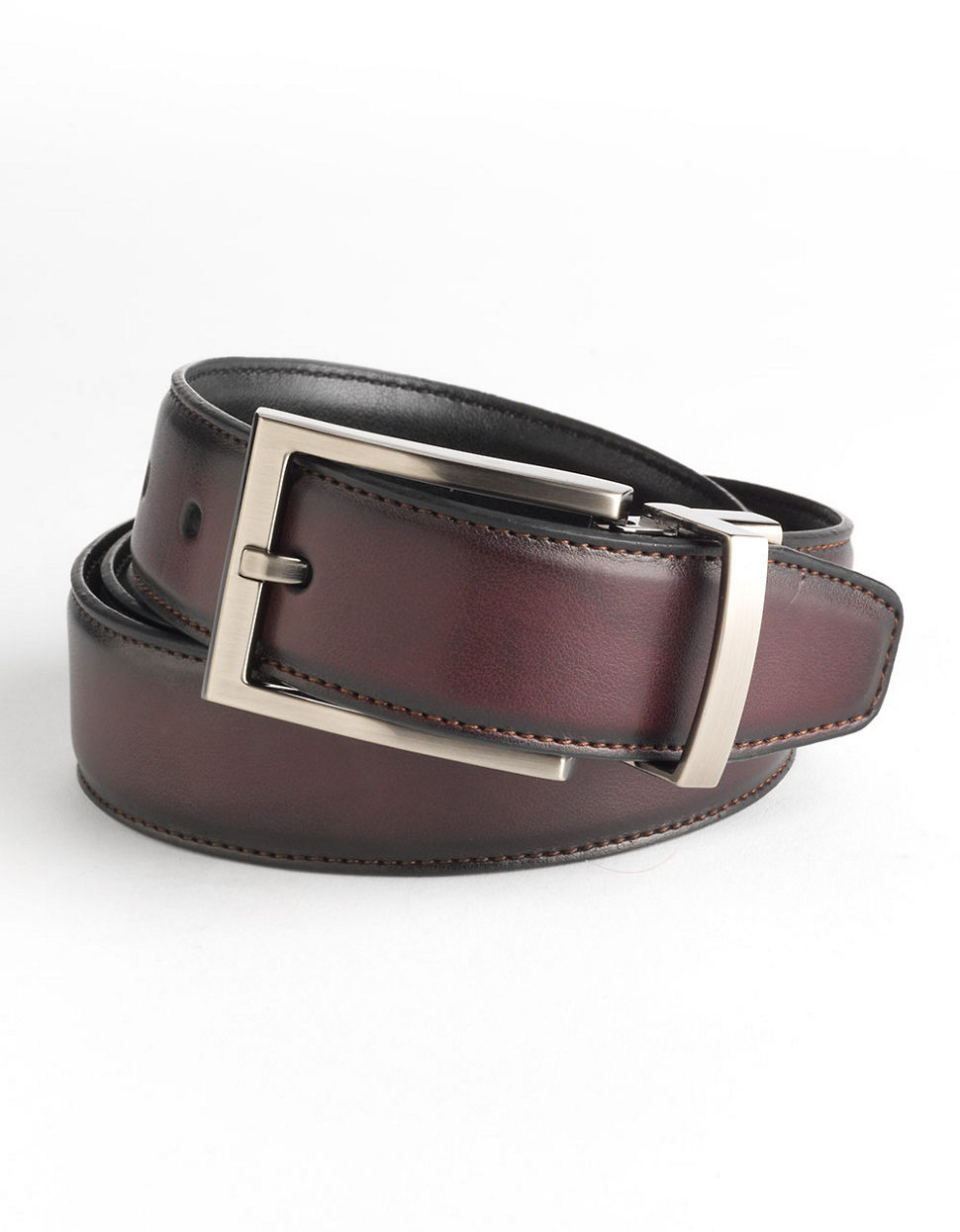 black brown reversible leather belt in brown for