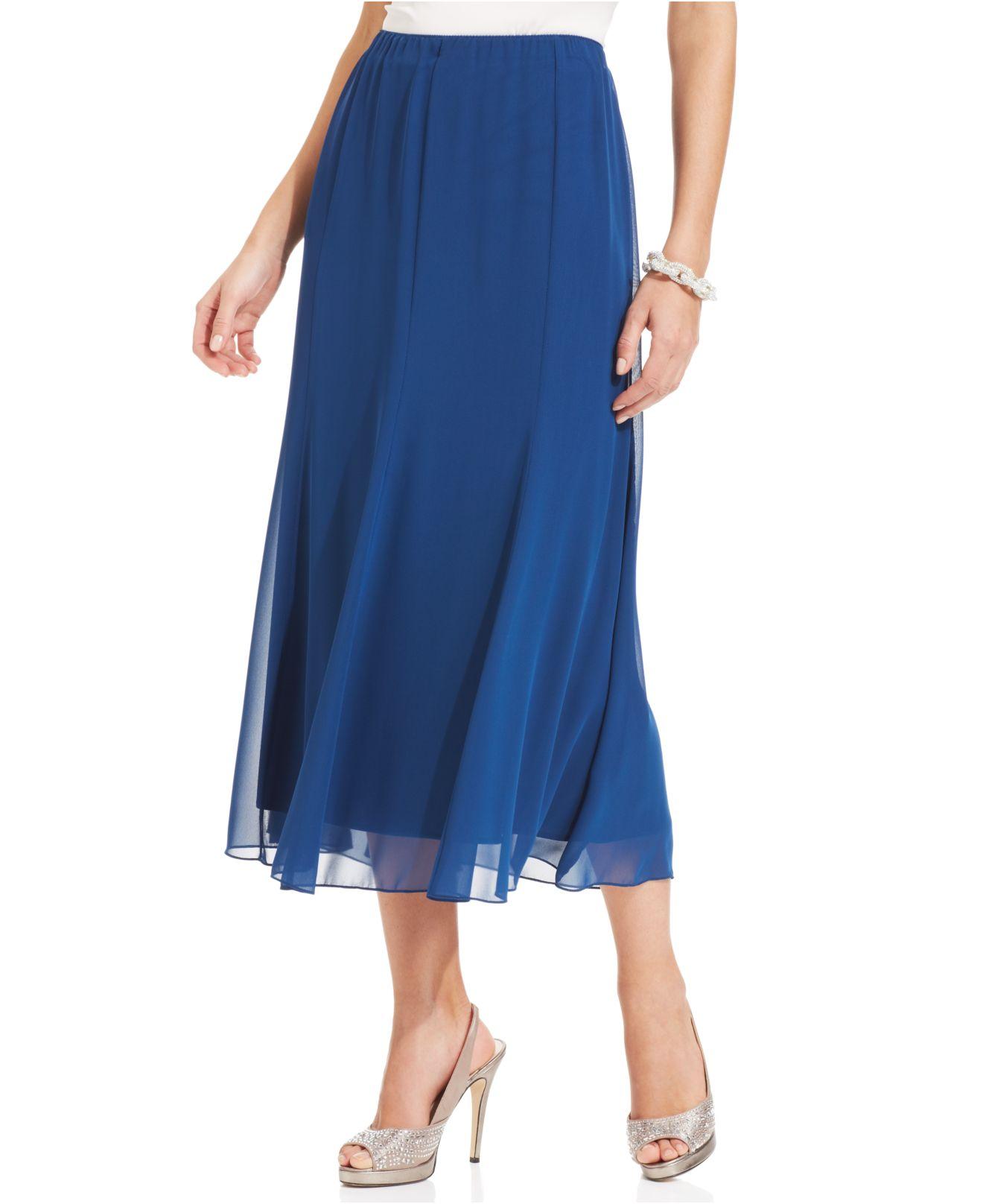 alex evenings chiffon tea length skirt in blue lyst