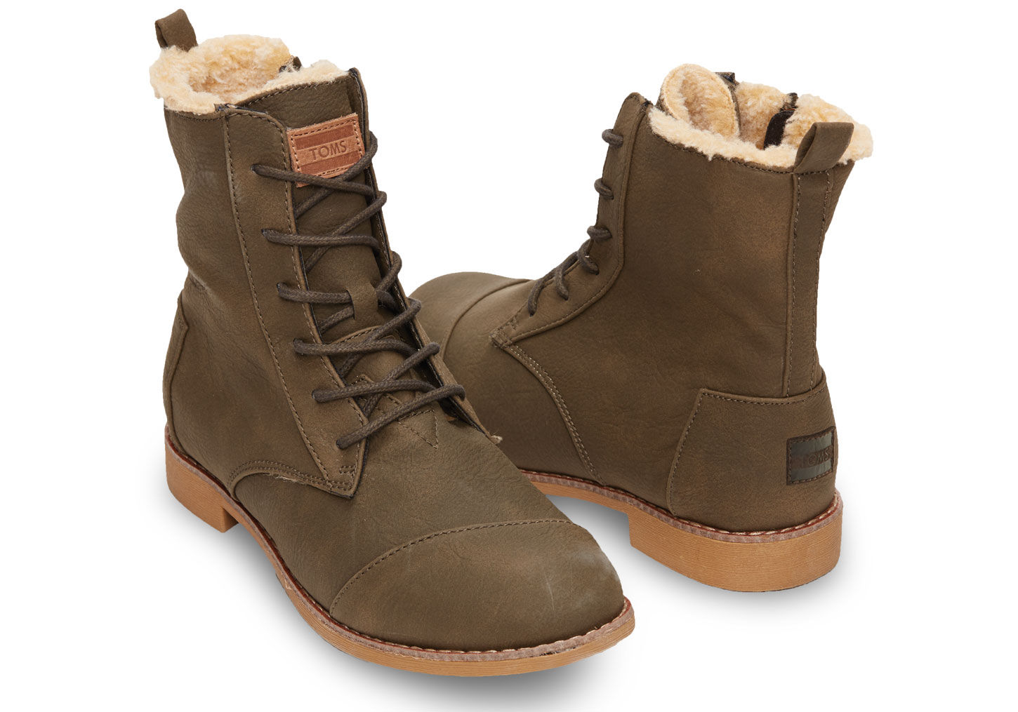 372b5bcfc2f TOMS Olive Synthetic Leather Women's Alpa Boots in Green - Lyst