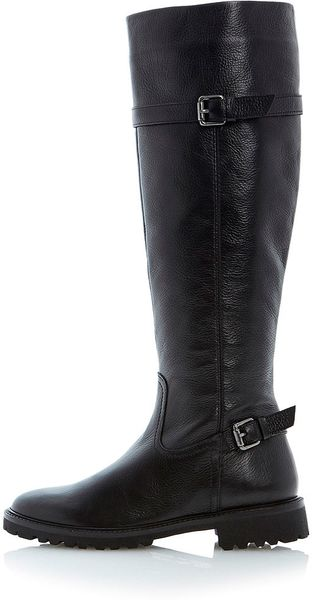 topshop thunder cleated sole knee high leather boots by