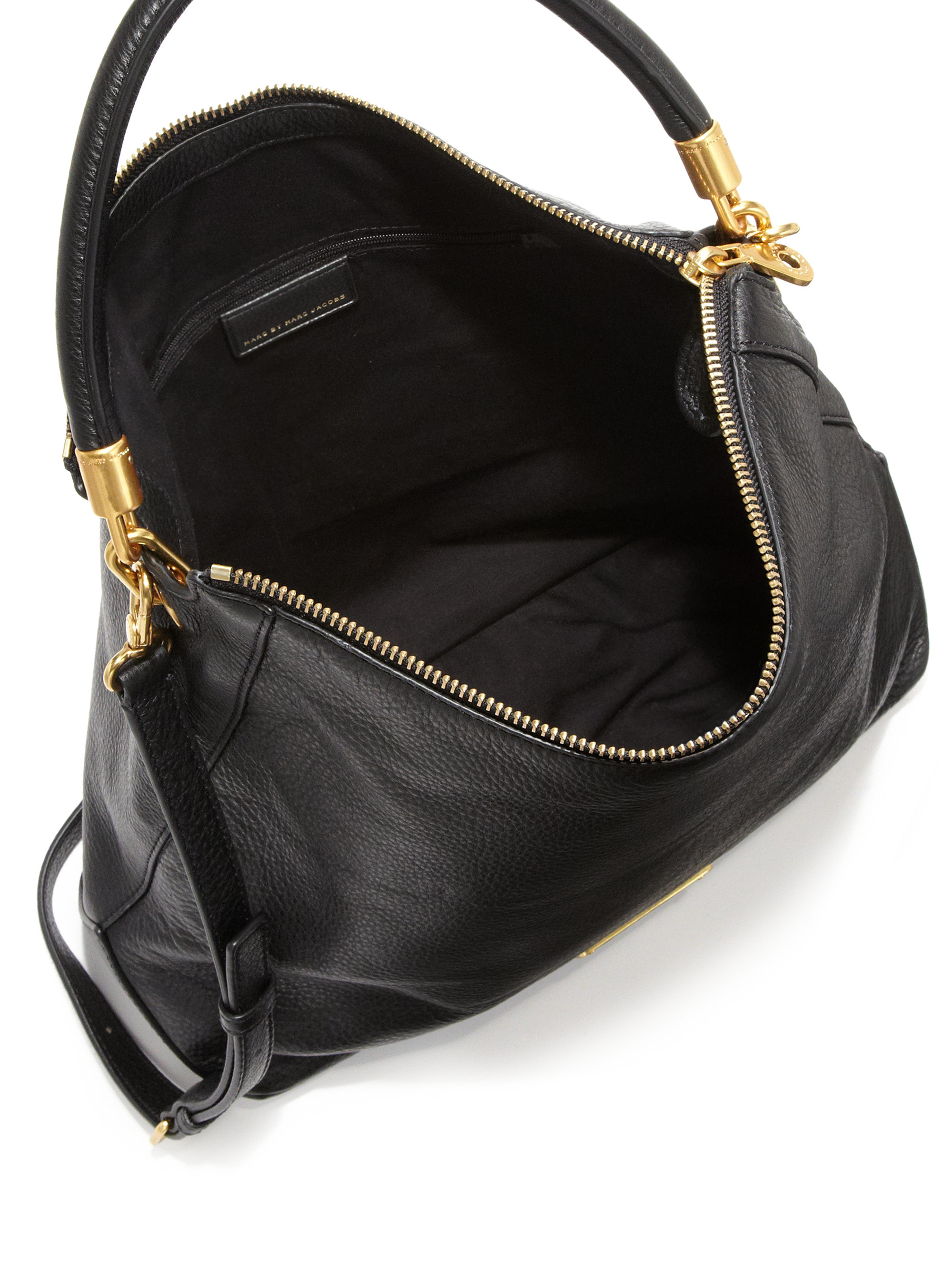 Marc by marc jacobs Too Hot To Handle Leather Hobo Bag in Black | Lyst