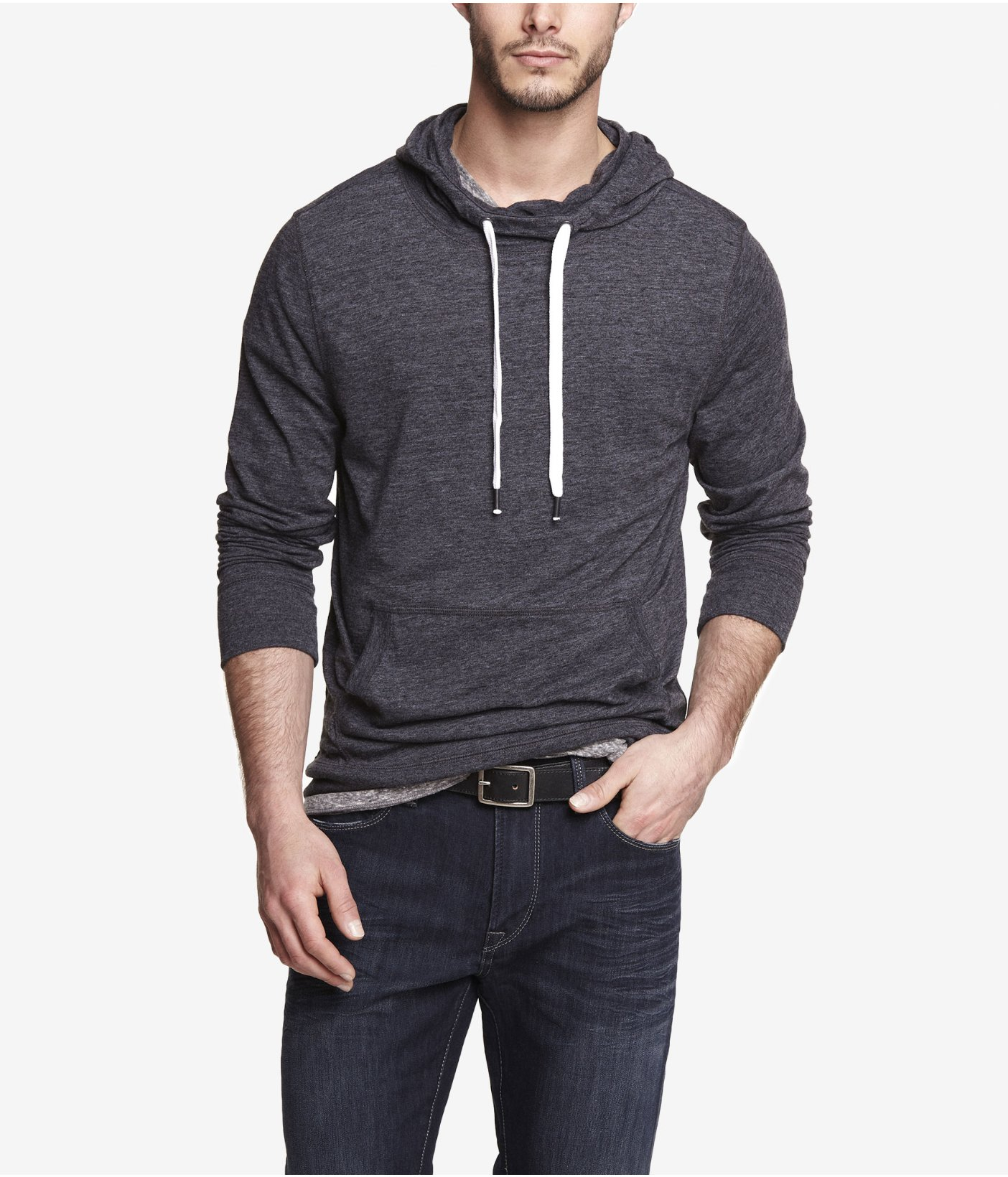 Lyst Express Triblend Funnel Neck Hoodie In Black For Men