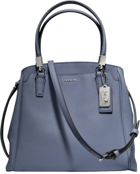 Coach Madison Minetta Leather Shoulder Handbag in Blue (Cornflower)
