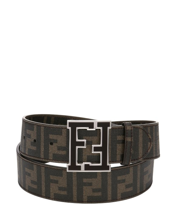 fendi tobacco zucca spalmati canvas logo buckle belt in