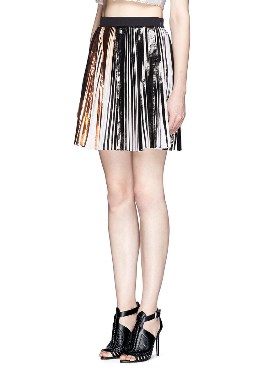 proenza schouler foil print pleated skirt lyst
